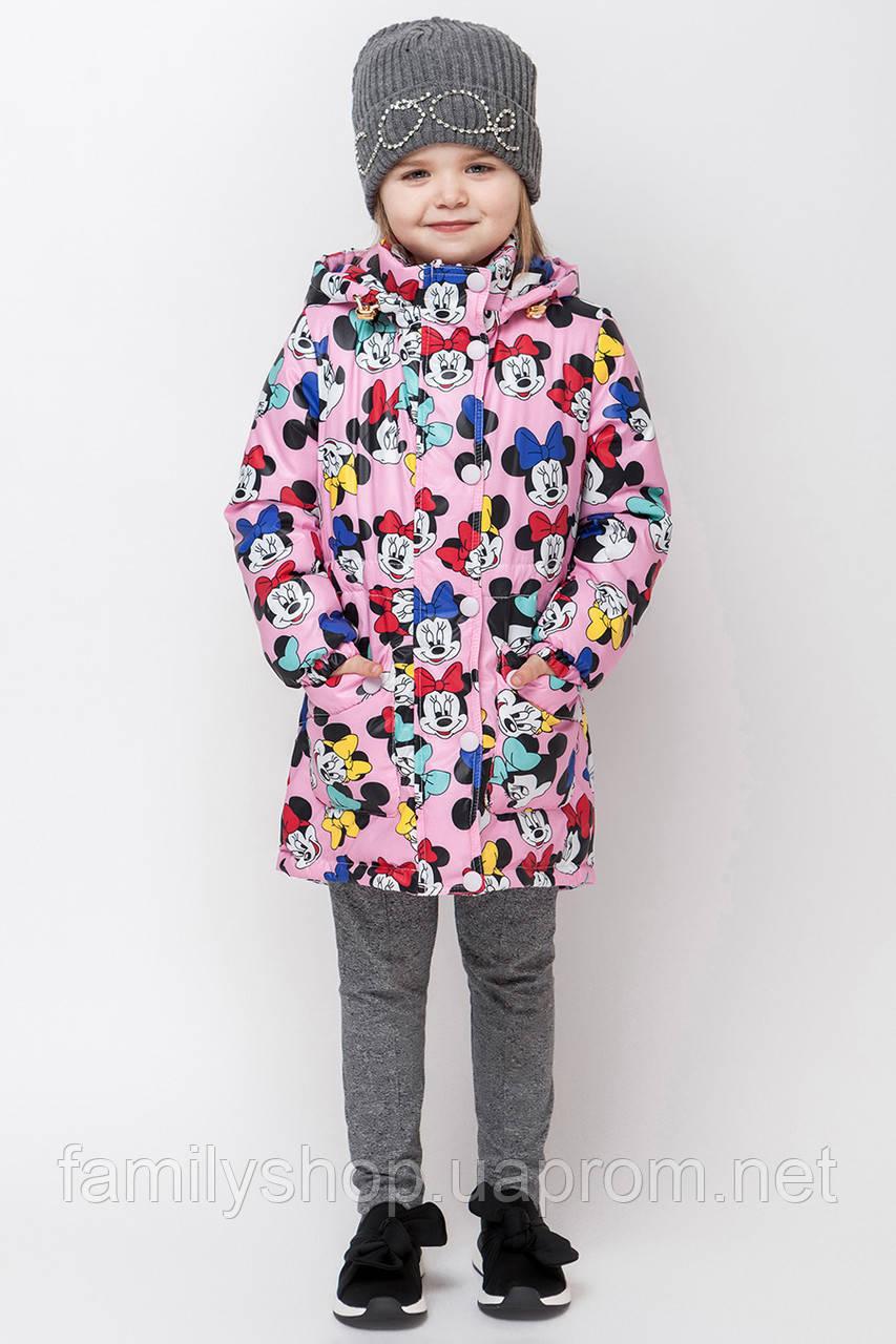 Осенняя удлиненная  куртка на малышей c микки маусом размер 92, 98, 104, 110, 116, 122