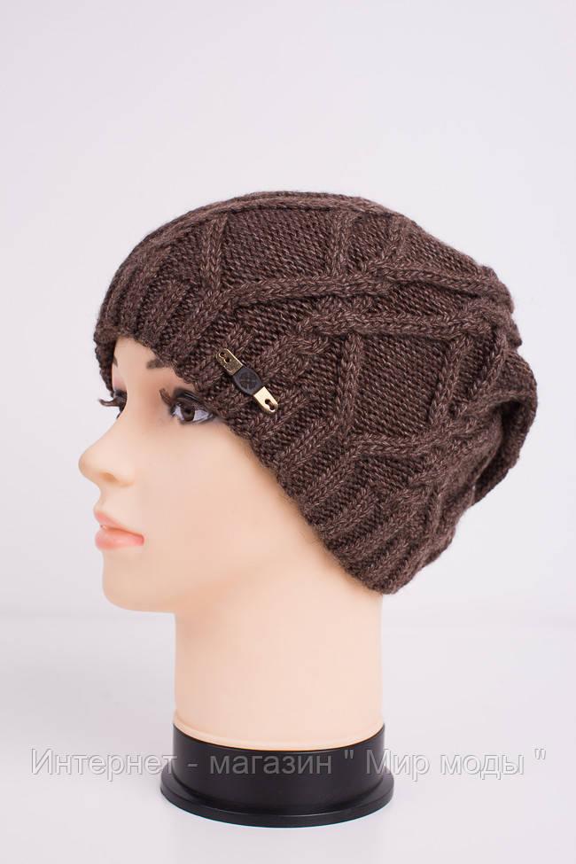 Вязаная женская шапка коричневого цвета Код 612526602 - Интернет - магазин