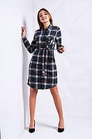 Модное молодёжное платье-рубашка в клеточку  S,М,L синее Код:617077089