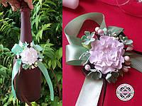 Украшение на шампанское с цветком пиона