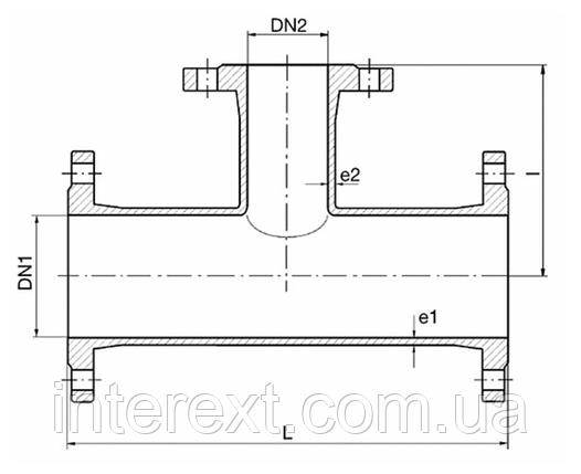 Тройник чугунный фланцевый Ду150х65, фото 2
