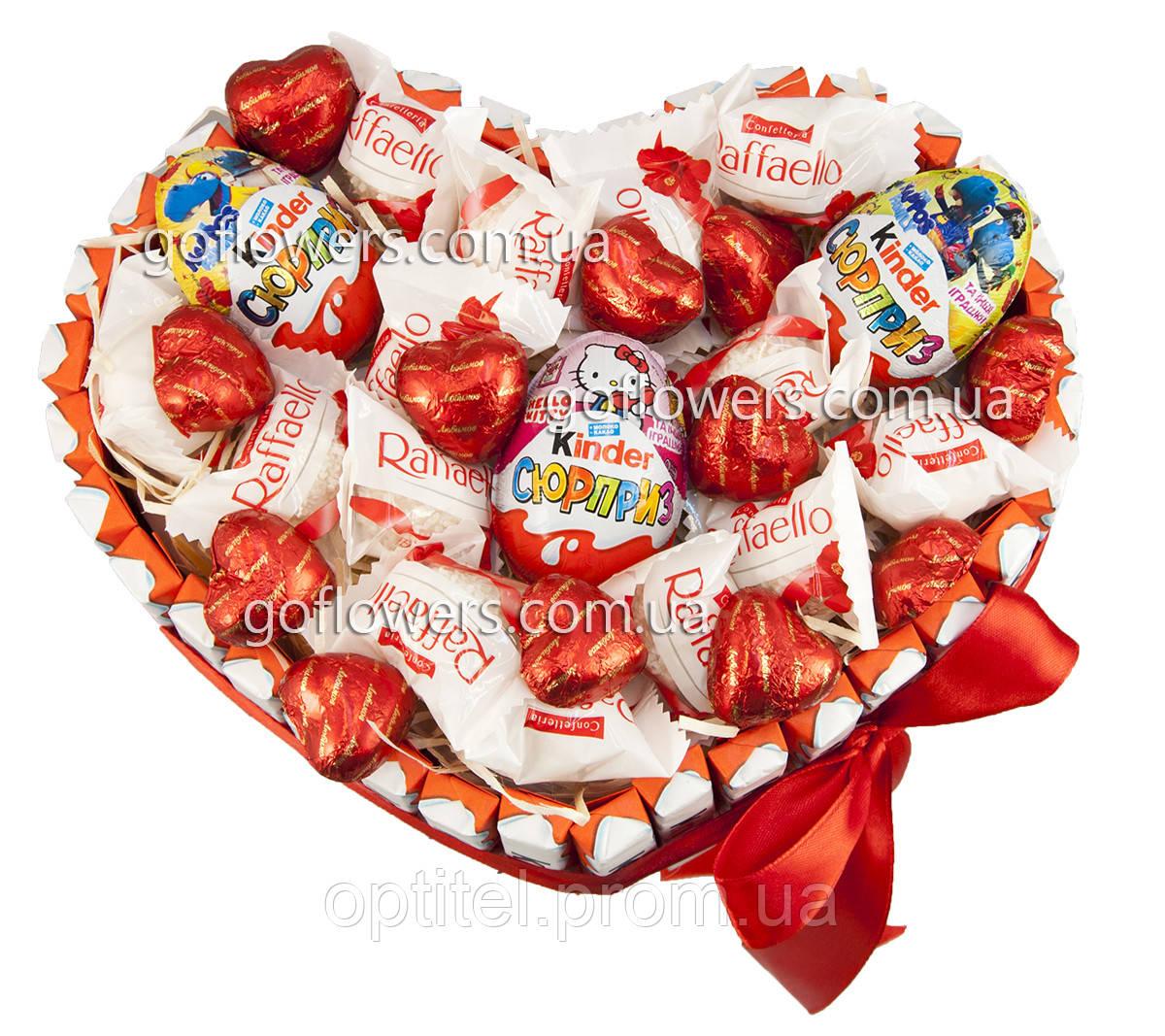 """Композиція з цукерок """"Солодке серце"""""""