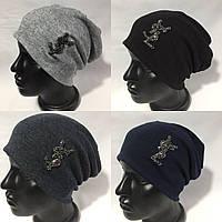 Весенняя женская трикотажная шапка-чулок