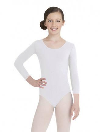 Детский купальник для гимнастики (хлопок) Белый, фото 2