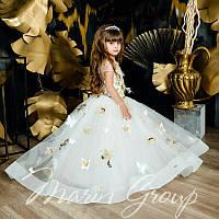 Детское нарядное платье молочное с золотом