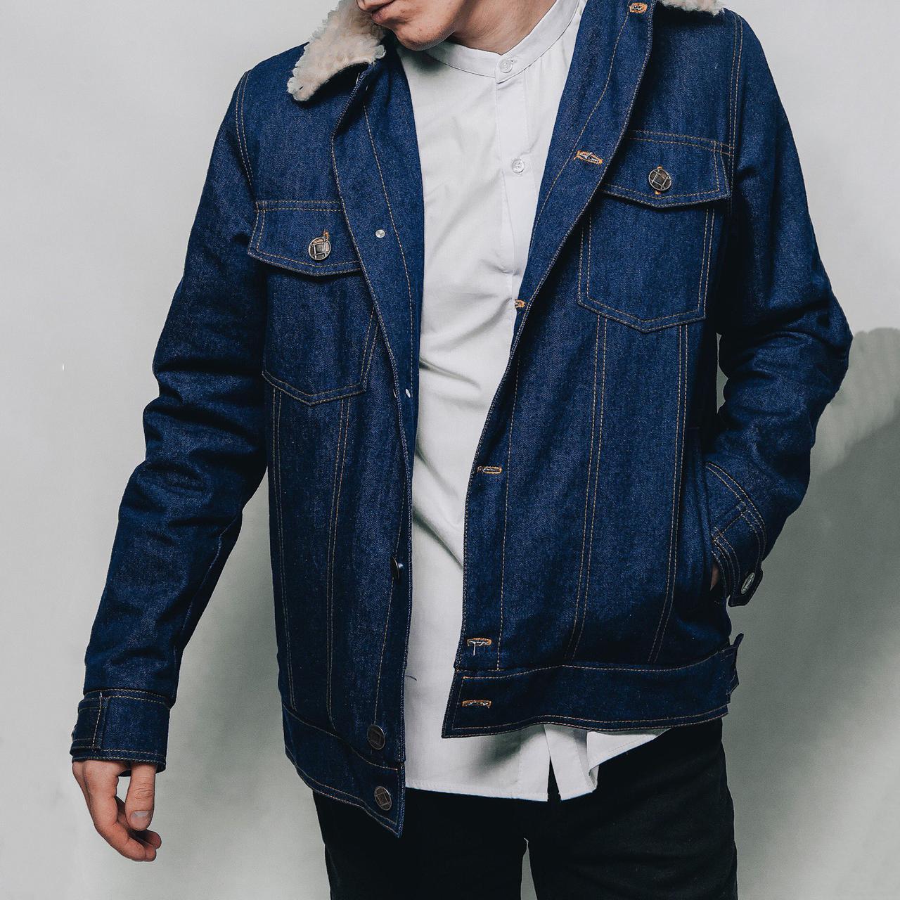 14a4f019 Джинсовая куртка с мехом мужская MS 18 синяя - купить по лучшей цене ...