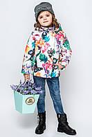Весенняя куртка на девочку с цветочным принтом размер 110, 116, 122, 128, 134, 140