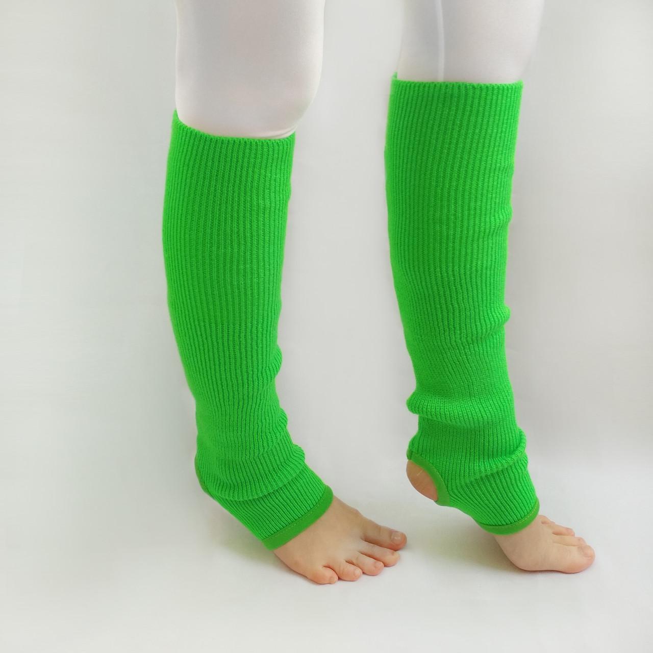 Детские вязаные гетры для танцев 35 см Зеленый для девочек до 10 лет