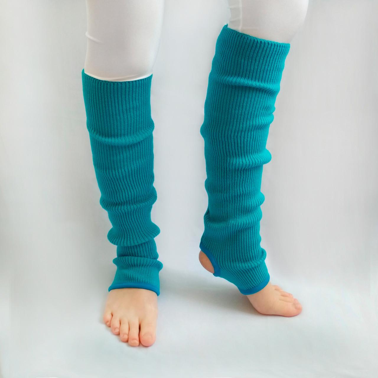 Вязаные детские гетры для гимнастики и хореографии 35 см Голубой для девочек до 10 лет