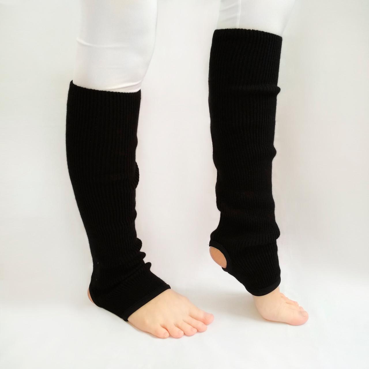 Вязаные детские гетры для танцев и гимнастики 35 см Черный