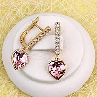 008-4920 - Серьги позолота Swarovski Xilion Heart Vintage Rose (старинная роза) и прозрачные фианиты