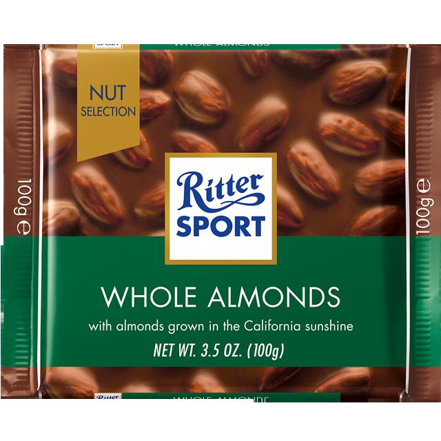 Шоколад Ritter Sport Whole Almonds Молочный шоколад с цельным миндалём 100г (1уп/11шт)