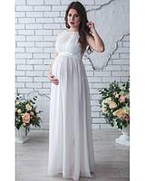 Длинное свадебное платье для беременных айвори