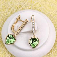 008-4922 - Сережки позолота Swarovski Xilion Heart Peridot Crystal (Перидот) і прозорі фіаніти