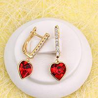 008-4924 - Серьги позолота Swarovski Xilion Heart Light Siam Crystal (Сиамский Красный) и прозрачные фианиты