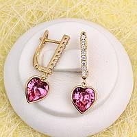 R2-4925 - Сережки позолота Swarovski Xilion Heart Crystal Rose (Рожевий) і прозорі фіаніти