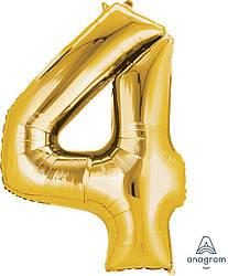 Шар Цифра 4 Золото (Анаграм)