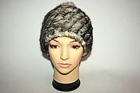 Женская вязаная меховая шапка, цвет - темно-серый