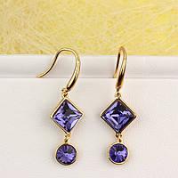 R2-4930 - Позолоченные серьги Swarovski Square, Swarovski Rivoli Crystal Purple Velvet (пурпурный бархат)
