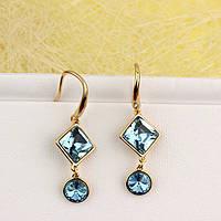 008-4931 - Позолоченные серьги Swarovski Square, Swarovski Rivoli Aquamarine Crystal (Аквамарин)