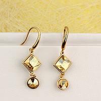 008-4932 - Позолоченные серьги Swarovski Square, Swarovski Rivoli Crystal Golden Shadow (Золотистая Шампань)
