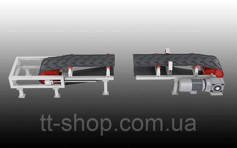 Ленточный желобчатый конвейер длинной 4 м, ширина ленты 400 мм