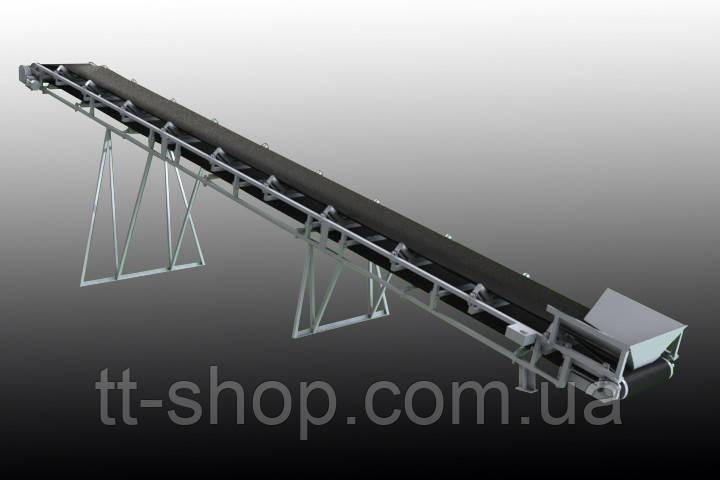 Ленточный желобчатый конвейер длинной 7 м, ширина ленты 400 мм