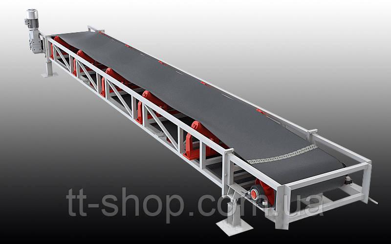 Ленточный желобчатый конвейер длинной 8 м, ширина ленты 400 мм