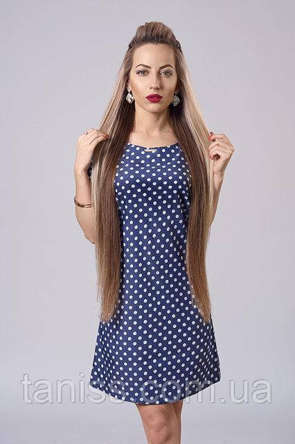 Летнее молодежное платье из натурального тонкого котона, р.44,46,48 синее в бел.горох (277)