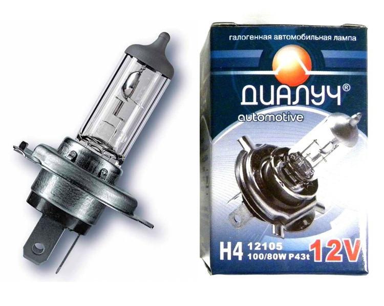 Лампочка Диалуч 12V 100/90W P43T  H4