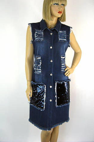 джинсовий сарафан з рваними вставками і паєтками, фото 2