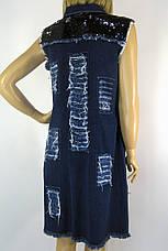 джинсовий сарафан з рваними вставками і паєтками, фото 3