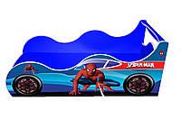 Кровать-машинка Спайдермен синяя