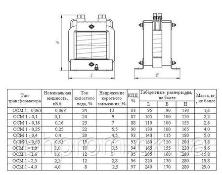 Трансформатор ОСМ 0,063-1,0 кВА, фото 2