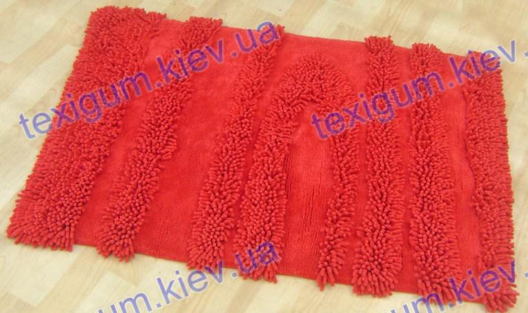 Коврик для ванной хлопковый обьемный, 70*100см. цвет красный. Набор для ванной комнаты цена