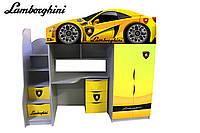 Кровать чердак Ламборджини желтая (серия бренд)