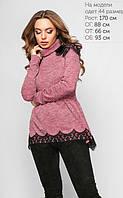 Модная розовая кофта-гольф из материала трикотаж-меланж Код:646586220