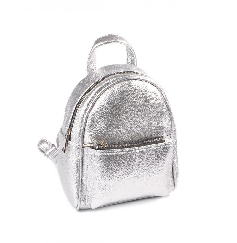 66df6ec46e26 Рюкзак маленький серебристый М160-72 мини женский городской на плечо модный  - Интернет магазин сумок