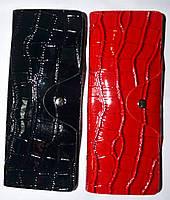 Женские вертикальные кожаные визитницы в лаке 7,5*19,5 см