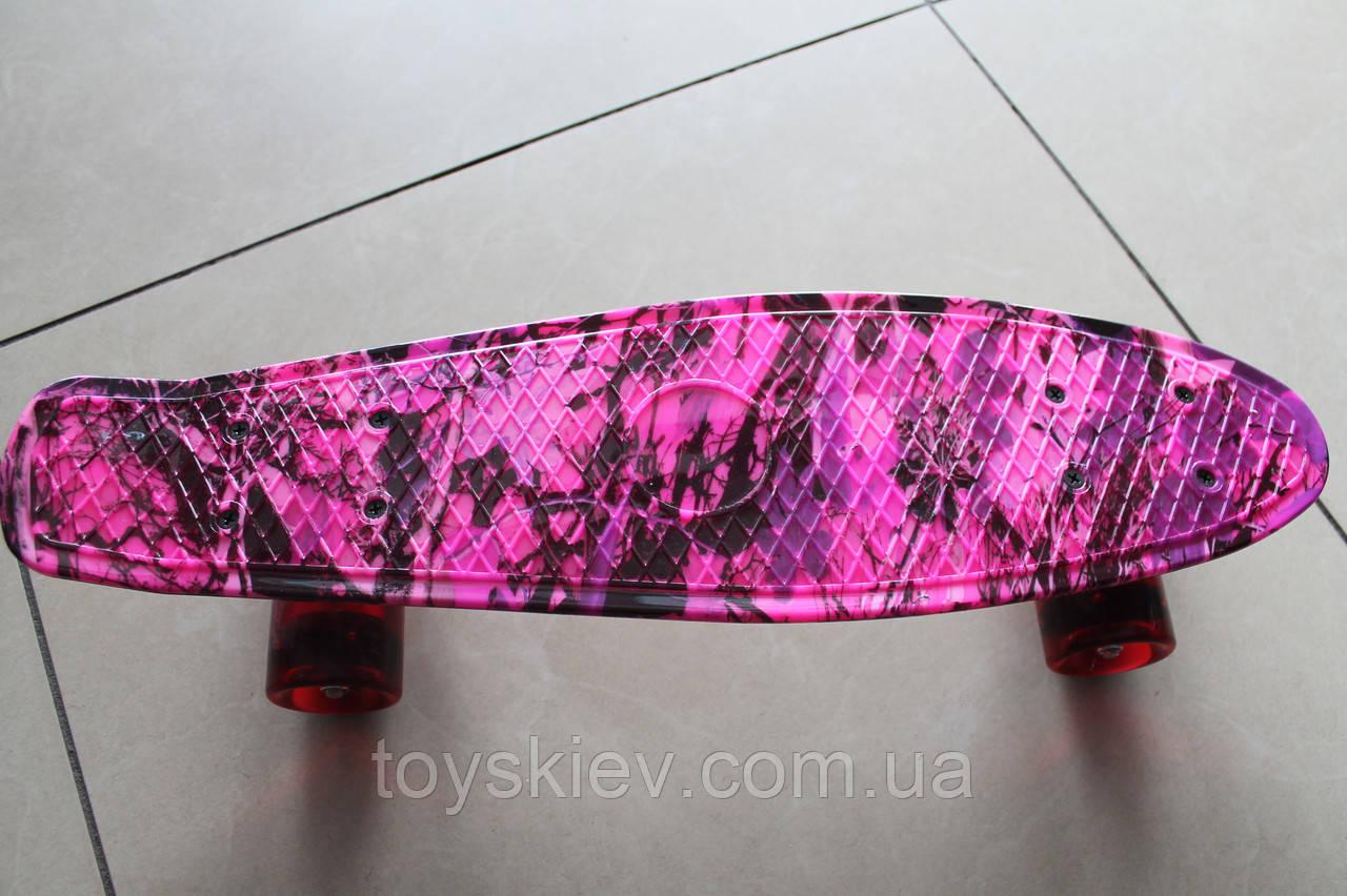 Скейт Пенни борд (Penny board) 820-6 с рисунком, светящийся