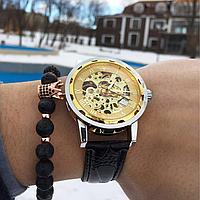 Мужские механические Часы Winner Skeleton, золотий механічний чоловічий годинник