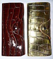 Женские вертикальные кожаные визитницы лаковые 7,5*19,5 см, фото 1