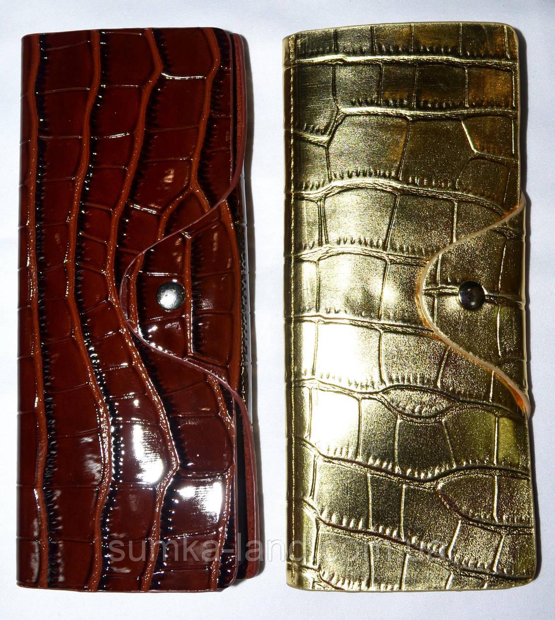 Женские вертикальные кожаные визитницы лаковые 7,5*19,5 см
