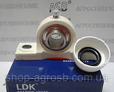 Термопластовый корпус с подшипником  из нержавейки с пищевой смазкой TP-SUCFL205 WHITE+CC+OC