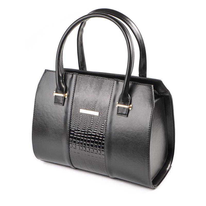 5ec20f7f25d3 Классическая женская сумка М62 глянцевая с лаковой вставкой под рептилию,  фото 1