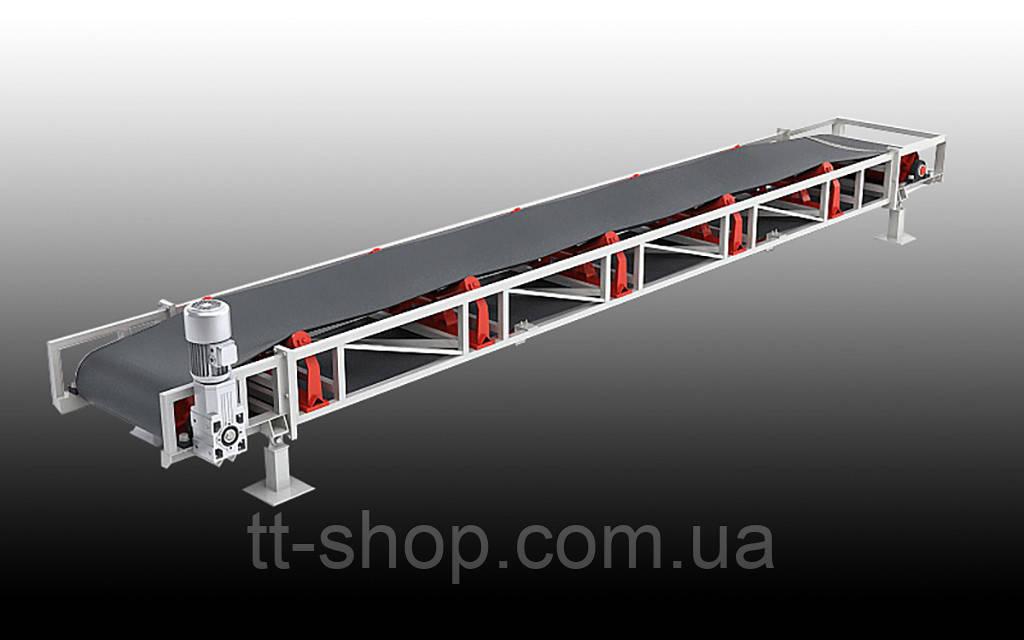 Ленточный желобчатый конвейер длинной 10 м, ширина ленты 600 мм