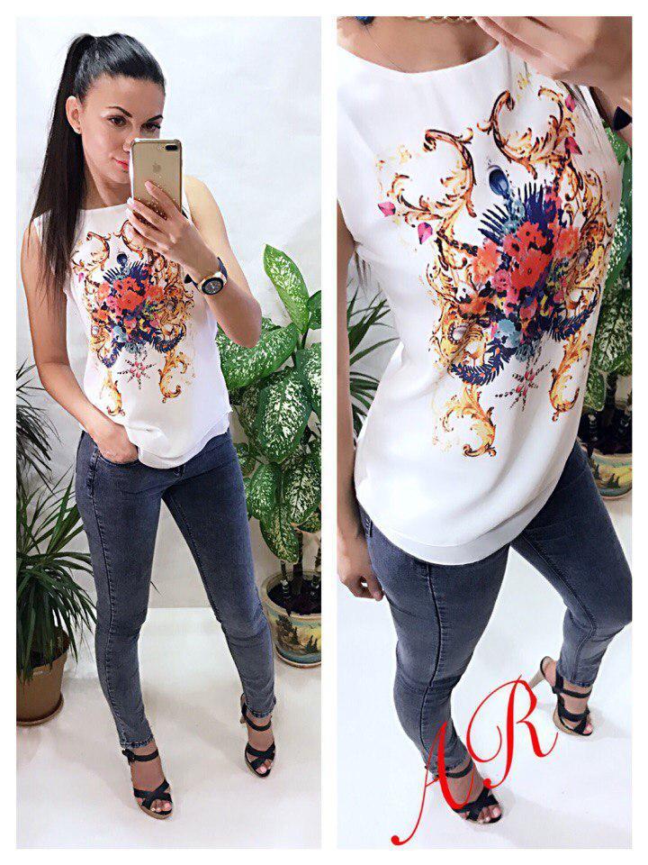 Блуза с принтом без рукавов креп-шифон