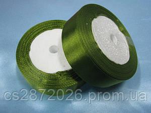 Лента атлас 25 мм, болотно-зеленый