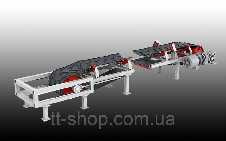 Ленточный желобчатый конвейер длинной 3 м, ширина ленты 800 мм