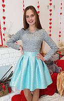 Нарядное платье для девочки серое + мята Миранда в складку 134,140,146,152см eaf6d290762